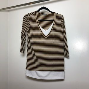 Anthropologie Retro Ology Striped Double Shirt